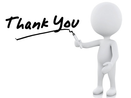 thank you words written by white people. 3d image. Isolated white background 스톡 콘텐츠