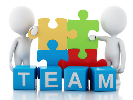 3d image. White people work together with puzzle piece. Team concept. Isolated white background photo