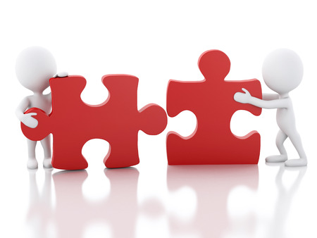 work piece: 3d image. White people work together with puzzle piece. Team concept. Isolated white background