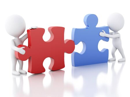 work together: 3d image. White people work together with puzzle piece. Team concept. Isolated white background