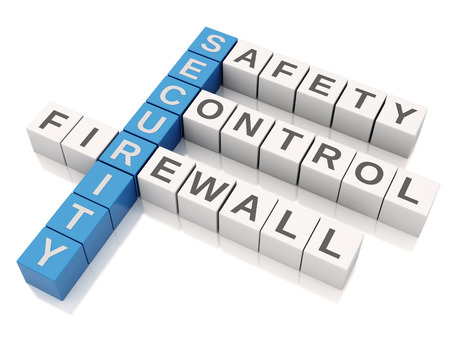 3d image. Security concept. Crossword with letters, Isolated white background photo