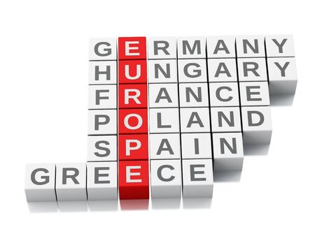 crossword: 3d europe country concept. Crossword with letters. Isolated white background Stock Photo