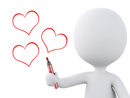 love image: red heart drawn by white people. Love concept, isolated white background. 3d image