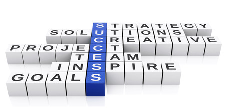 conceptual image: 3d Conceptual image of success. Business Crossword. Isolated white background