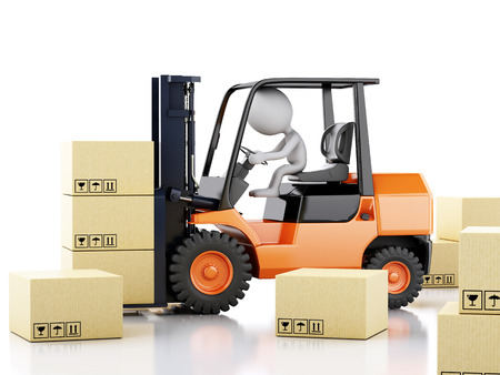 3d illustration. White people with a forklift and cardboard boxes. Isolated white background Foto de archivo