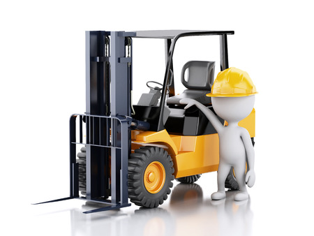 work crate: 3d renderer illustration. White people with a forklift truck. Isolated white background