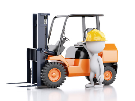 3d renderer illustration. White people with a forklift truck. Isolated white background