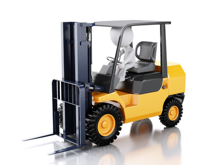 3d renderer illustration. White people driving a forklift truck. Isolated white background