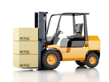 3d image. Forklift truck with cardboard  boxes. Isolated white background photo