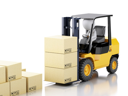 3d renderer illustration. White people driving a forklift truck and cardboard boxes. Isolated white background illustration