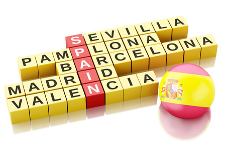 ling: 3d renderer image. Spain country concept. Crossword with letters. Isolated white background