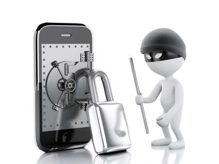 safe guard: 3d image. White people thief. Smartphone with safe door. Mobile security concept. Isolated white background
