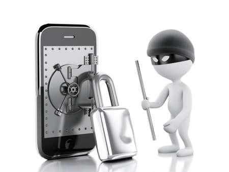 caja fuerte: Imagen en 3D. La gente blanca ladrón. Smartphone con la caja fuerte. Concepto de seguridad móvil. Fondo blanco aislado Foto de archivo