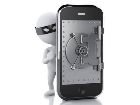 3d image. Smartphone with safe door. Mobile security concept. Isolated white background photo