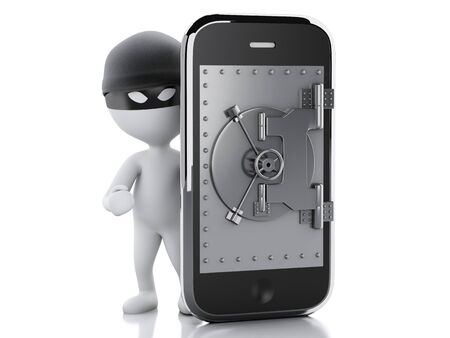3d image. White people thief. Smartphone with safe door. Isolated white background photo