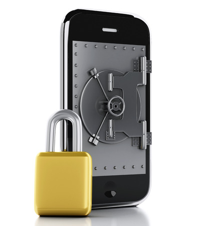 3 d レンダリング イメージ。安全ドア、南京錠を持つスマート フォン。モバイル セキュリティの概念。孤立した白い背景 写真素材