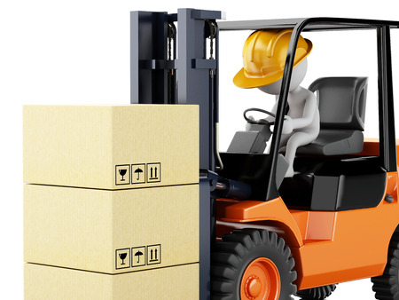 stacking: 3d illustration. White people driving a forklift with boxes. Isolated white background Stock Photo