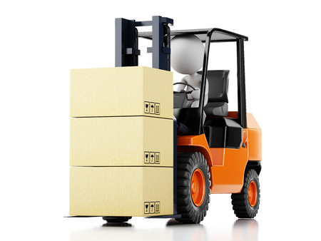 reach truck: 3d illustration. White people driving a forklift with boxes. Isolated white background Stock Photo