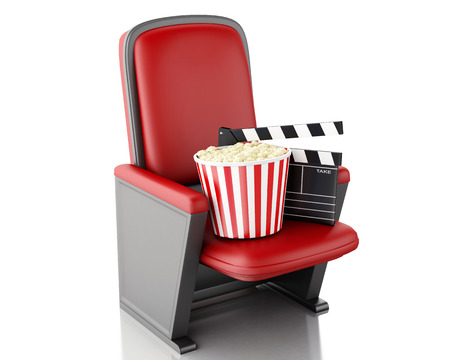 3d renderer illustration. Cinema clapper board and popcorn. Isolated white background