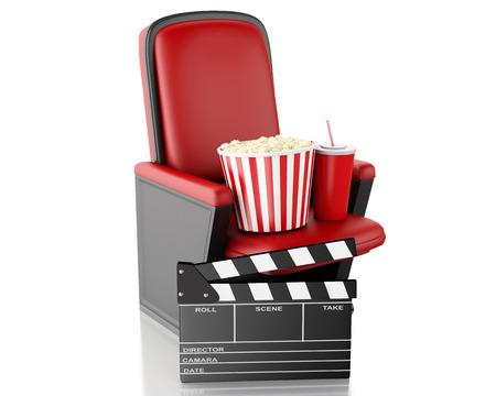 Ilustración de render 3d. Junta de azote de cine, palomitas y bebida. Fondo blanco aislado Foto de archivo - 38106388