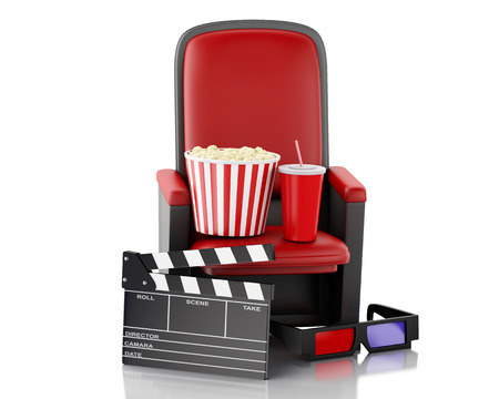 3d renderer illustration. Cinema clapper board, popcorn and drink. Isolated white background