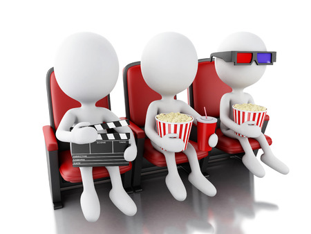 theater seat: 3d illustration. White people with clapper board, popcorn and drink on theater seat. Isolated white background Stock Photo