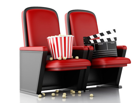 eating popcorn: 3d illustration. Cinema clapper board and popcorn on theater seat. cinematography concept. Stock Photo