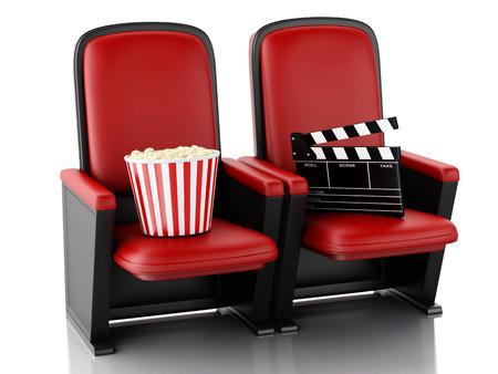 3 d イラスト。シネマ クラッパー ボードと劇場の座席にポップコーン。撮影コンセプトです。