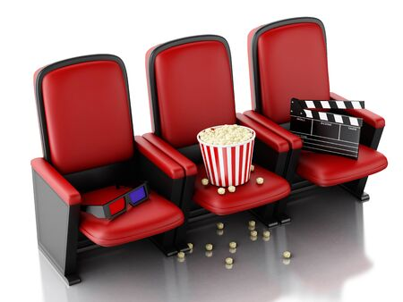 theater seat: 3d illustration. Cinema clapper board and popcorn on theater seat. cinematography concept. Stock Photo