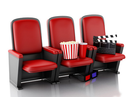 cinema auditorium: 3d illustration. Cinema clapper board, popcorn and drink on theater seat. cinematography concept.