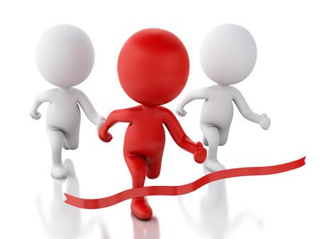 hombre rojo: Imagen en 3D. Gente rojas que cruzan la l�nea de meta. Concepto Succes. Fondo blanco aislado
