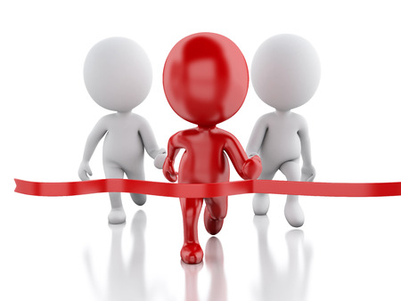 finishing line: 3d image. Red people crossing the finishing line. Succes concept. Isolated white background