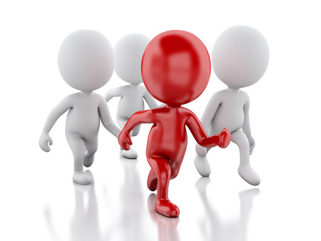 3d People. Running with a red leader. Leader concept. Isolated white background