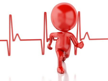 ray trace: 3d image. Running people with heartbeat. Medical concept. White background