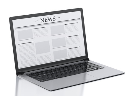 3d image. Modern laptop with news. Internet, Media concept on white background photo