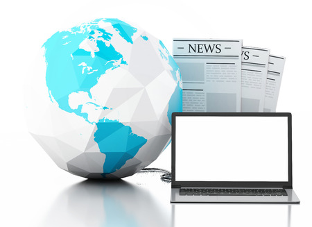 3d image. Earth globe and Modern laptop with news. Internet, Media concept on white background photo