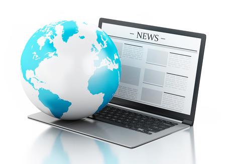 Imagen en 3D. Globo de la tierra y un ordenador portátil moderno con la noticia. Internet, el concepto de medios de comunicación en el fondo blanco Foto de archivo - 38583786