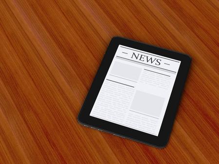 3d renderer image. digital tablet pc with news.  Internet, Media concept. photo