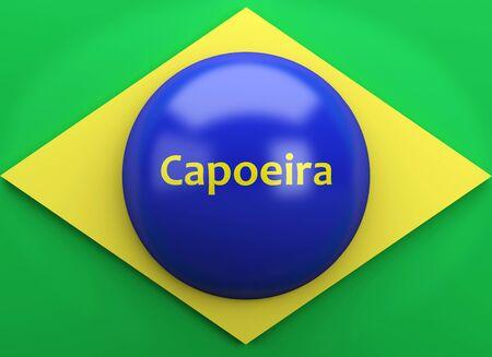 finalist: 3d illustration. Brazil flag with capoeira text. Rio de Janeiro 2016 Stock Photo