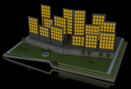 idealistic: City night in the open book, isolated on black background. 3d renderer image concept.