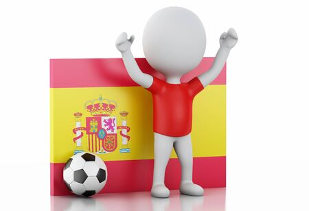 3d illustration. White people with Spain flag and soccer ball. Isolated white background illustration