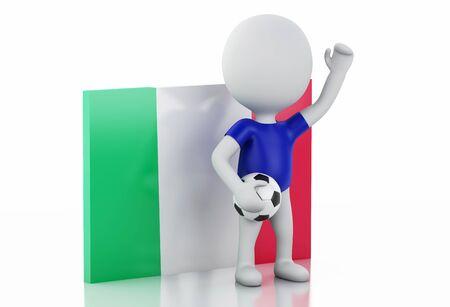 bandera italia: 3d ilustración. La gente blanca con bandera de Italia y balón de fútbol. Fondo blanco aislado