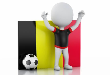 3d illustration. White people with Belgium flag and soccer ball. Isolated white background illustration