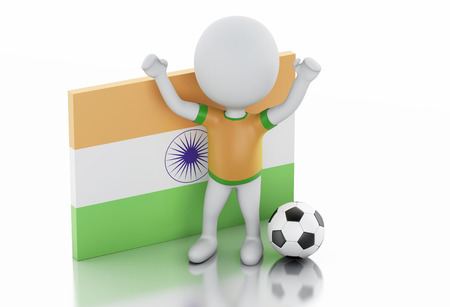 futbol soccer: 3d illustration. White people with India flag and soccer ball. Isolated white background