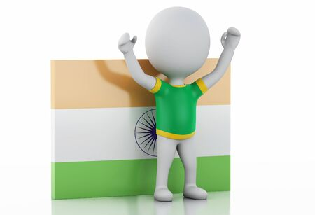 futbol: 3d illustration. White people with India flag and soccer ball. Isolated white background