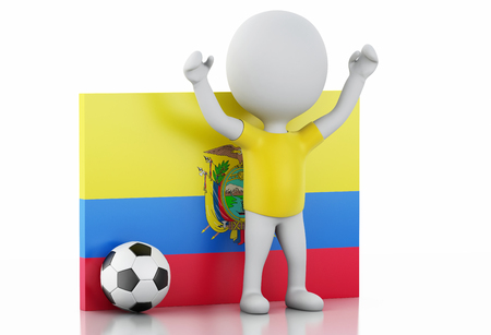 3d illustration. White people with Ecuador flag and soccer ball. Isolated white background illustration