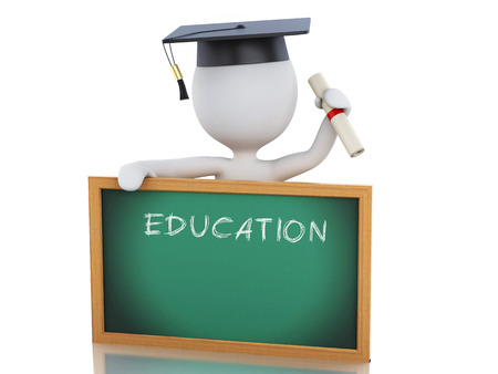 blackboard isolated: White people graduate with diploma, Graduation cap and blackboard. Isolated white background. 3d renderer illustration.