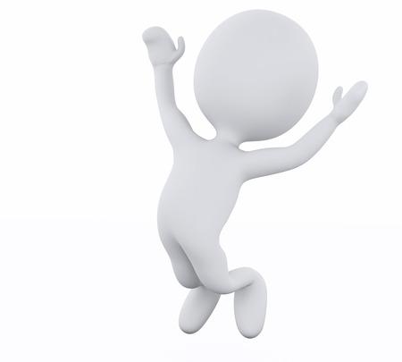 figuras abstractas: Imagen de render 3d. Los blancos saltando por contentos. Fondo blanco aislado Foto de archivo