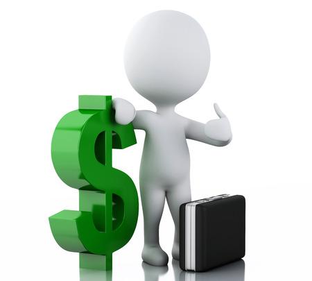 3d renderer illustration. White people with dollar sign. Businessman concept on white background illustration