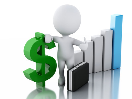 3d renderer image. White people with business statistic graph and dollar sign. Success concept. Isolated white background photo